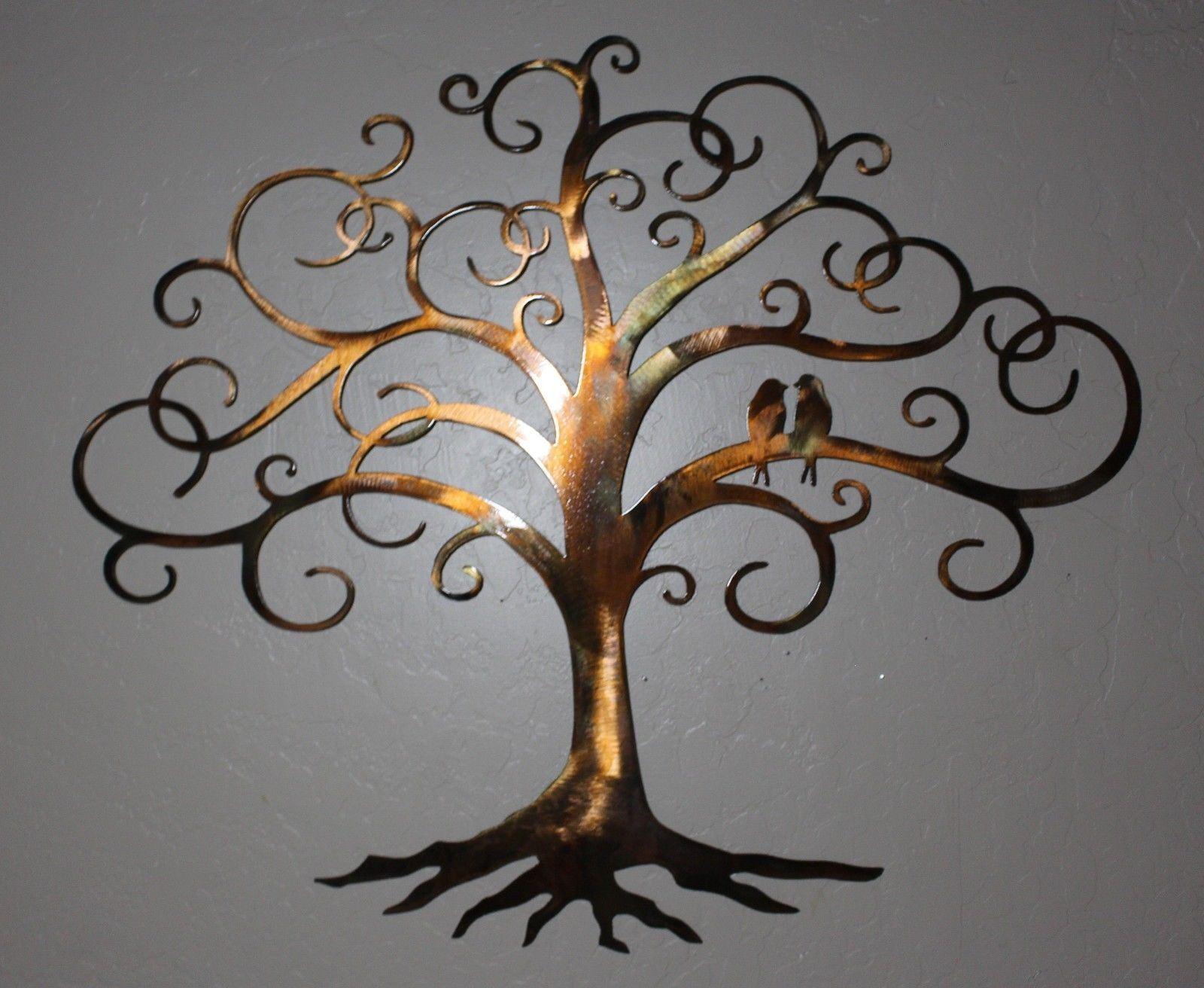 Liebe Vogel Verwirbelt Baum des Lebens 36   Hoch Metall Wandkunst Dekor von Hgmw