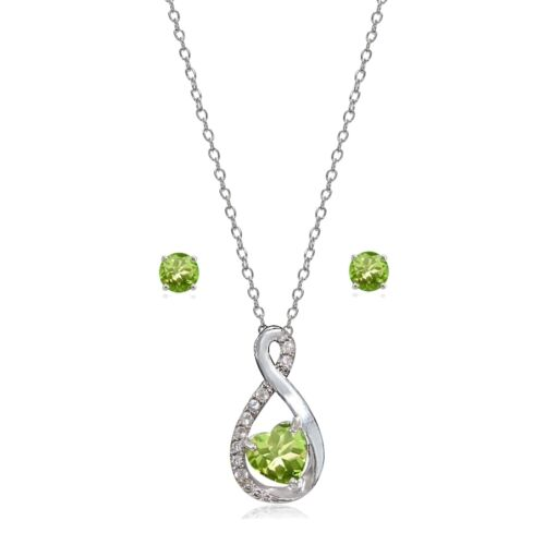 Details about  /Sterling Silver Peridot /& White Topaz Infinity Heart Necklace Earrings Set