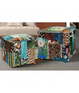 S-2-CHARLIZE-SQUARE-OTTOMANS-EXQUISITE-ANIMAL-PRINTS-VELVET-RICH-COLOURS