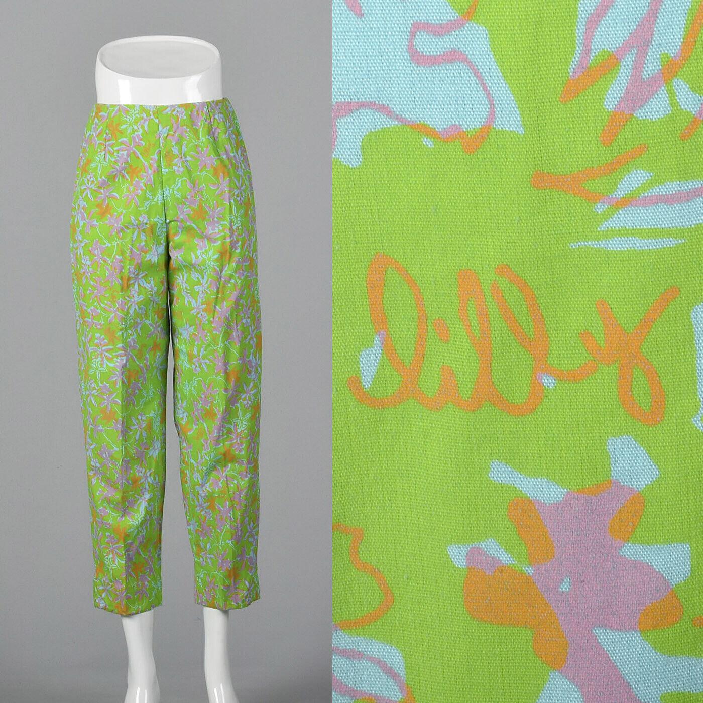 M 1960s Lilly Pulitzer Signature Print Cigarette Pants Cotton Beach 60s VTG