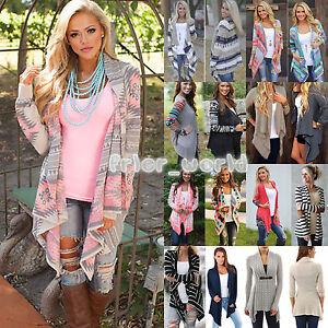 Damen-Wasserfall-Cardigan-Strickjacke-Longshirt-Mantel-Jacke-Gestrickt-Bluse