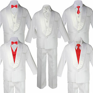 Boy Kid White Shawl Lapel Wedding Suits Tuxedo RED Satin Bow Necktie Vest SM-20