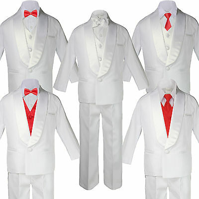 New Born Baby Toddler Kids Boy Teen Formal White Shawl Lapel Suit Set Satin Necktie Sm-20