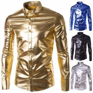 Men-039-s-Shirts-Long-Sleeve-Shirts-Night-Club-Wear-Slim-Fit-Fashion-Metallic-Shiny