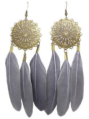 F1421F Gray Feather Earrings Sun Chandelier Eardrop Fashion Handmade Jewelry