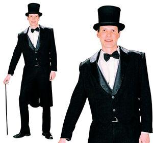 Mens-Black-Tailcoat-Fancy-Dress-Costume-Jacket-Victorian-Gentleman-Outfit-New