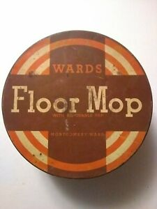 Montgomery-Ward-158-Floor-Mop-Tin-Container-Vintage-Antique-Ward-039-s-Floor-Mop