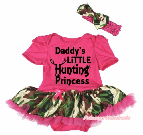 Daddy/'s Little Hunting Princess Hot Pink Bodysuit Camouflage Baby Dress NB-18M