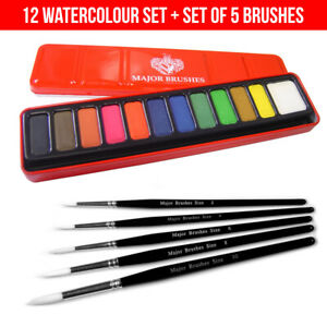 5-Brush-Set-Major-Brushes-Artist-Watercolour-Paint-Tin-12-Blocks-Red-Metal-Lid