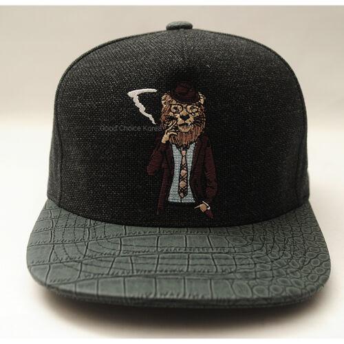 Smoking Animal Tiger Lion Panda Bear Premier Snapback Hat Hiphop Baseball Cap