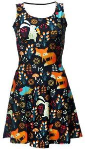 Cute-Floral-Fox-Rabbit-Hedgehog-Animal-Nature-Jungle-Print-Skater-Flare-Dress