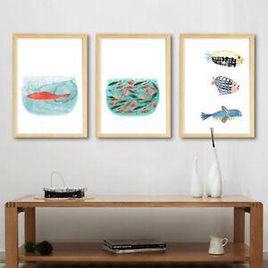 Eg-Fm-sans-Cadre-Aquarelle-Poisson-Animaux-Affiche-Decoration-Murale-Decor