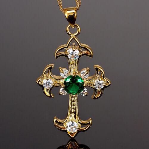 Fashion Jewelry Gift Cross Cut Vert émeraude Or Jaune GP Collier Pendentif