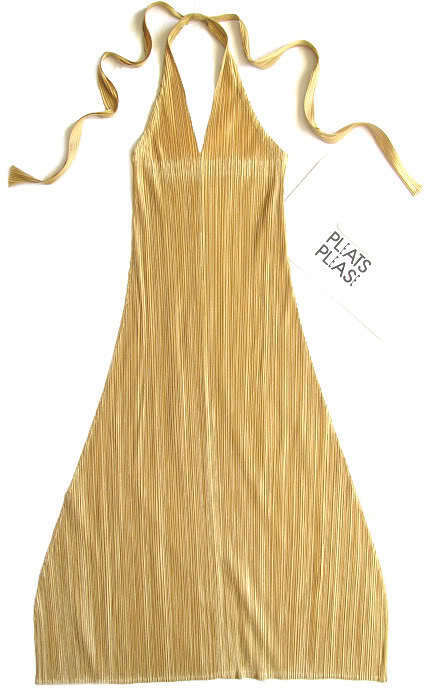 Pleats Please by Issey Miyake gold Halter Gorgeous Dress Very Rare