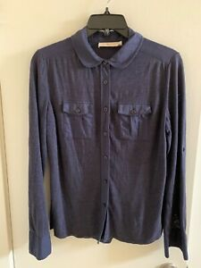 TORY BURCH Medium Navy Blue Long Sleeve Button-Up Blouse linen trim Size 6