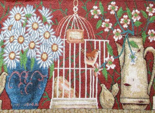 Set of 4 Blue Daisies and Birdcage Woven Tapestry Placemats