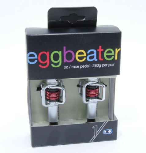 Crank Brothers Egg Beater Mountain Bike Pedals Silver with Red Spring
