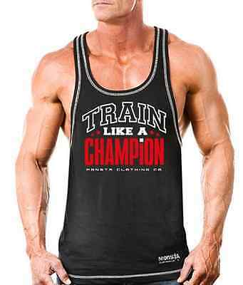 Monsta Clothing Workout Bodybuilding Wear TRAIN Racerback Mens Tank Top NEW