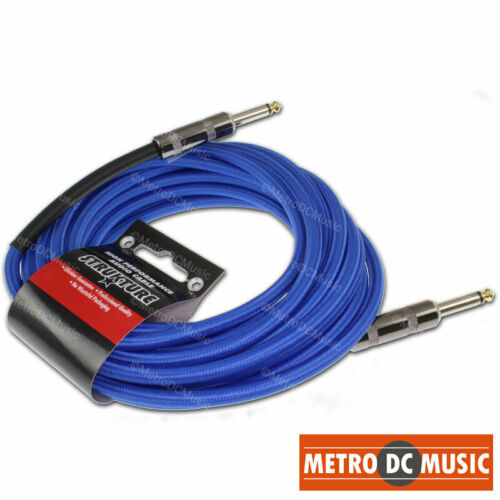 "18.5 FT BLUE Woven Instrument GUITAR Cable CORD Effect Patch Gold Tip 1//4/"" Plugs"