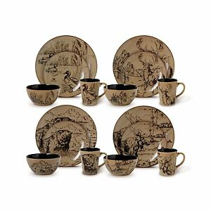 Image is loading Wildlife-Dinnerware-Set-Dishes-Plate-Bowl-Cup-Cabin-  sc 1 st  eBay & Wildlife Dinnerware Set Dishes Plate Bowl Cup Cabin Bear Moose Duck ...