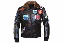Top Gun Classic Flight Bomber Pete Maverick Tom Cruise Brown Leather Jacket