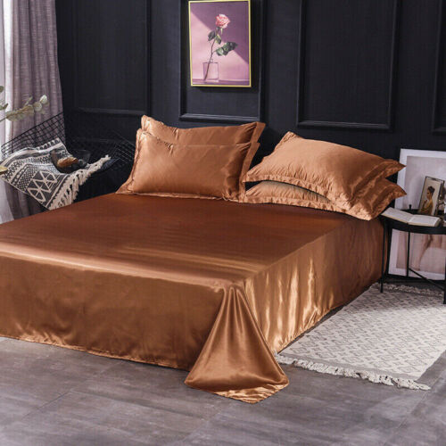Satin Silk Flat Bed Sheet Solid Colour Bedding Quilt Cover Pillowcase Home Decor
