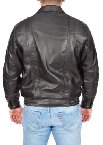 Classic noir Manteau en Veste Bomber doux pour cuir Comfort Fit homme Blouson w7wqXgxZU