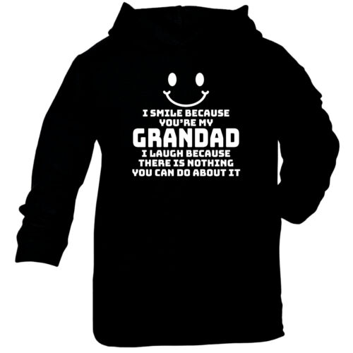 I Smile Because Youre My Grandad Funny Baby Infants Cotton Hoodie Hoody