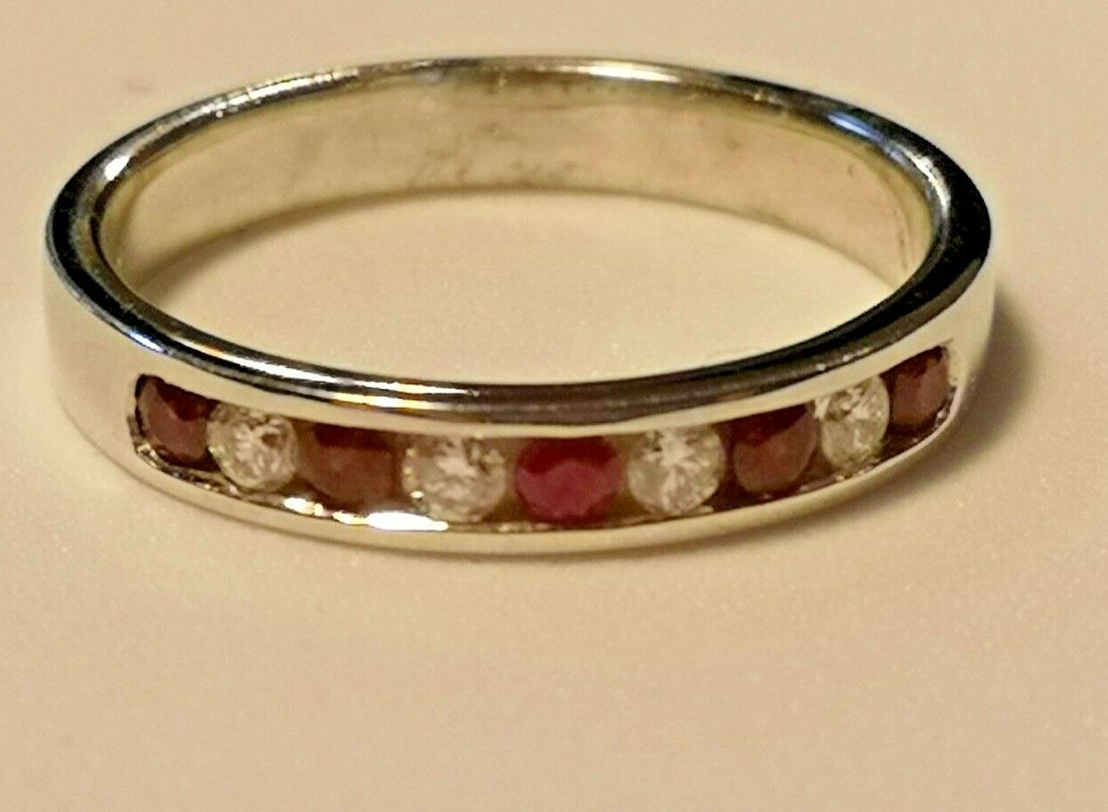 Ruby and Diamond channel set eternity ring 18ct white gold rrp