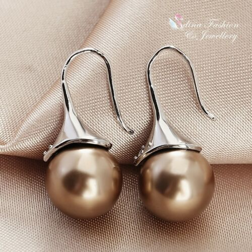 18K White Gold Plated 3 Colour Options 1.0cm Simulated Pearl Dangle Earrings