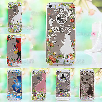 Princess Clear Transparent TPU Soft Back Case Cover For iPhone 5S 6 6S 7 8 Plus