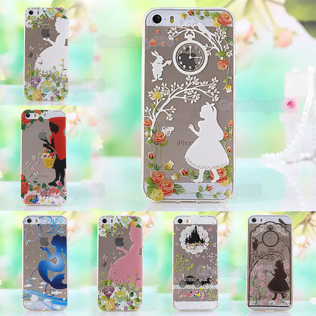 Princess Clear Transparent TPU Soft Back Case Cover For iPhone & Samsung