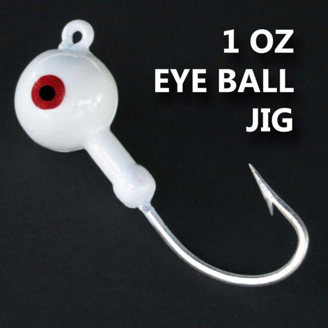 Saltwater jig heads. 1 OZ EYE BALL JIG, WHITE