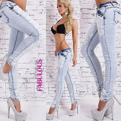 Sexy Women's Crochet Designer Jeans Size 6-14 Skinny Leg Stretch Pants Trousers