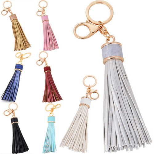 Women Leather Tassel Keychain Purse Bag Buckle HandBag Pendant Keyring Jewelrßß