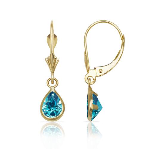 Topaz Birthstone Pear Shape Bezel Drop Dangle Leverback Earrings 14K Yellow Gold