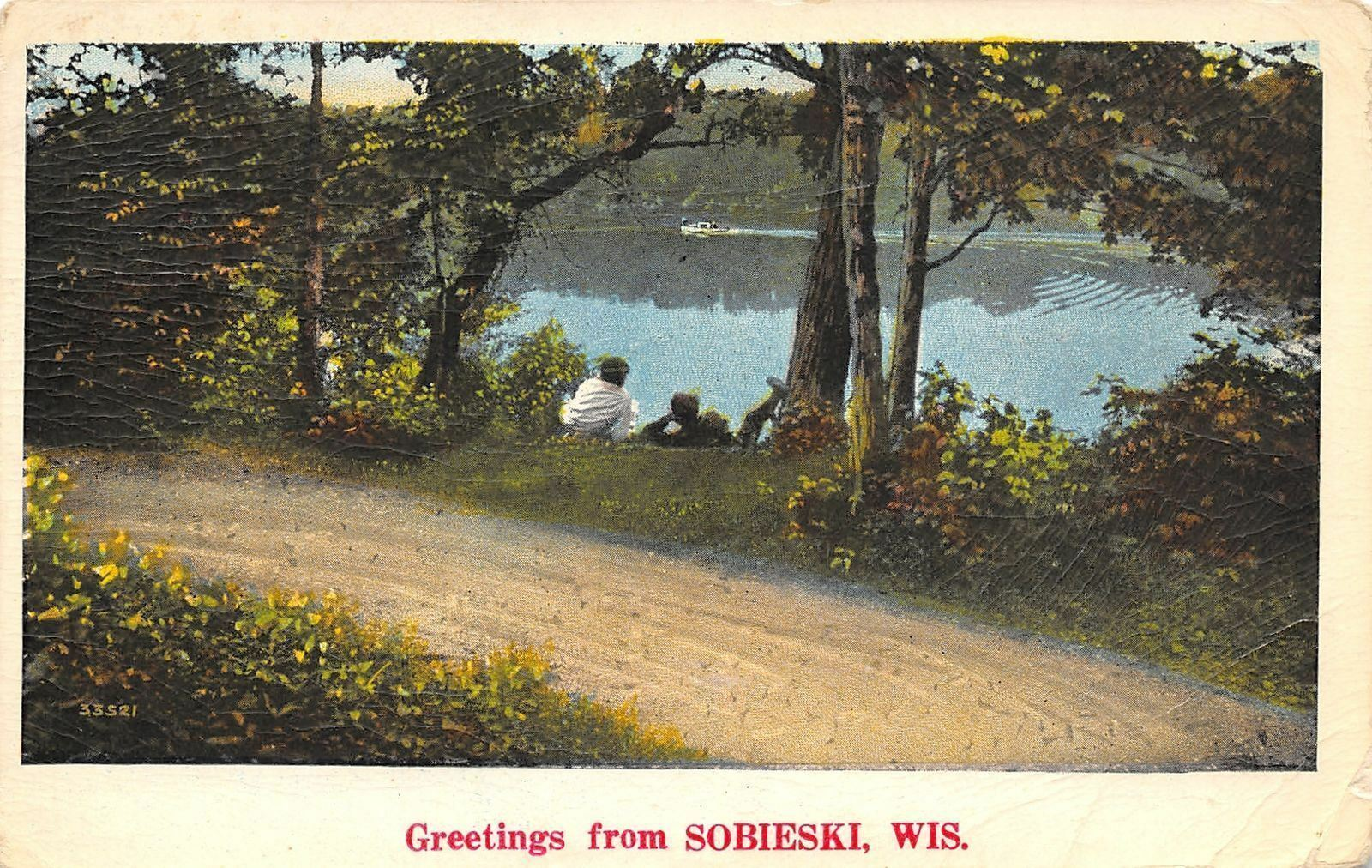Sobieski Wisconsin~Boys Along Banks of Little Suamico River~1930 Postcard