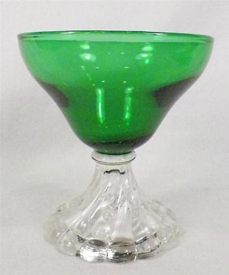 Burple Champagne Goblet Anchor Hocking Green Sherbet Retro Vintage Stem Nice