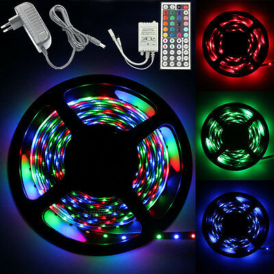 5M 3528 RGB 300 Led SMD Flexible Light Strip Lamp+44 key IR+12V 2A Power Supply