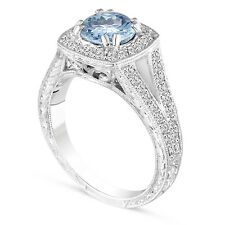 1.46 Carat Aquamarine Engagement Ring 14k White Gold Vintage Style Hand Engraved