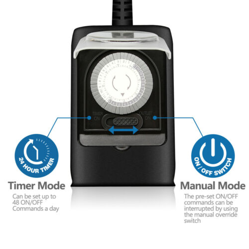 Outdoor minuterie Outlet mécanique 24 h Minuteur Interrupteur résistance à l/'eau