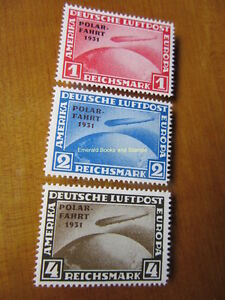 EBS-Germany-1931-Zeppelin-Polar-Flight-Polarfahrt-set-Michel-456-458-REPRINTS