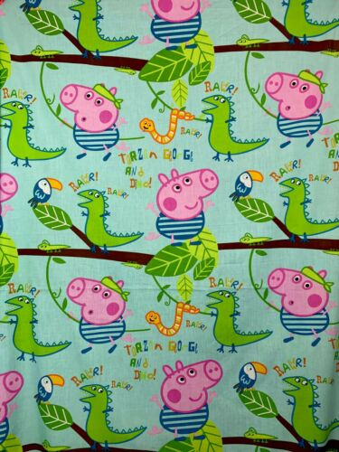 "Cotton Blend Peppa Pig Tarzan George Pig  /& Dino FABRIC L38/"" x W100/"" inches"