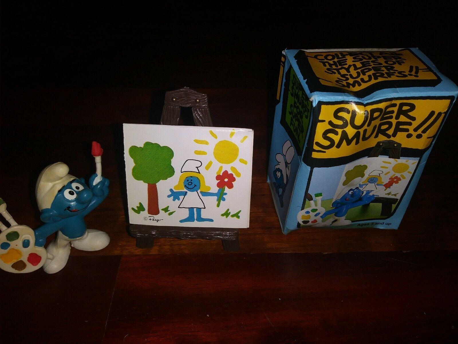 Smurfs Artist Super Smurf 40239 RARE Painter Brush Vintage Figure PVC Toy BOX
