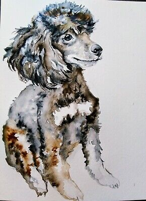 unique dog lover gift,pet portrait Pink poodle painting dog art wall decor