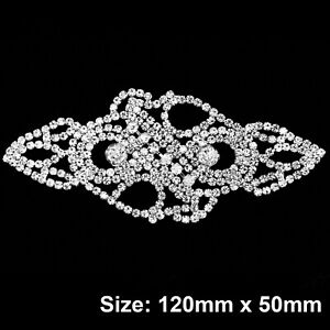 Diamante-Motif-Applique-Rhinestone-Sew-on-Bridal-Dress-Silver-Crystal-Patch