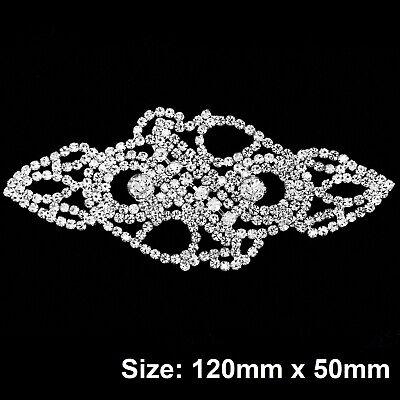 Diamante Motif Applique Rhinestone Sew on Wedding Silver Crystal Patch A162