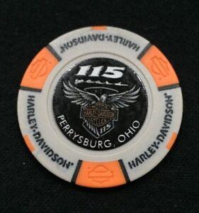 Perrysburg-Ohio-Harley-Davidson-Poker-Chip-115th-Anniversary-Gray-amp-Orange