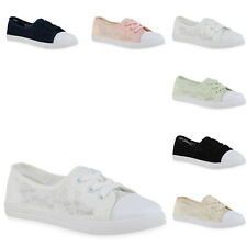 Damen Sneaker Low Flache Schnürer Spitze Blumen Schuhe 836243 Schuhe