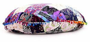 Indian-Patchwork-32-034-Large-Round-Floor-Pillow-Pom-Lace-Ottoman-Pouf-Home-Decor